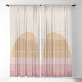 Minimal Retro Sunset / Sunrise - Warm Pink Sheer Curtain