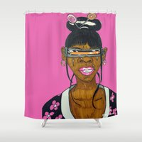 cyclops Shower Curtains featuring Cyclops Samurai  by N3RDS+INK
