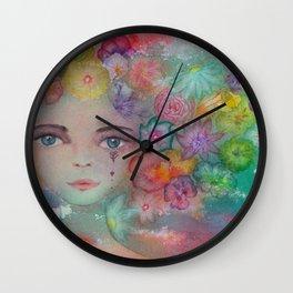 Summer watercolor flower girl portrait  Wall Clock