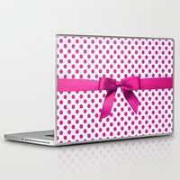 polkadot Laptop & iPad Skins featuring Pink Polkadot - Ribbon by albert Junior