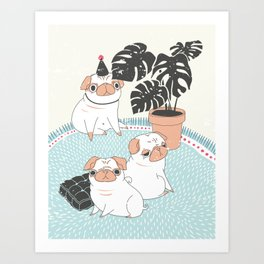 Pugs with tropical plants Art Print