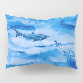 Great white in blue Pillow Sham