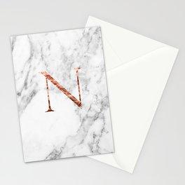Monogram rose gold marble N Stationery Cards