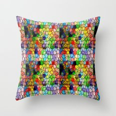 Stained Glass Abstract Digital Art Throw Pillow
