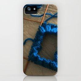 knit, knitting, royal blue, leg warmer, knitting, needles, blue, yarn, blue yarn, quilt, iPhone Case