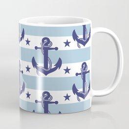 Sailor Stripes and Anchor Pattern Light Blue 8 Coffee Mug
