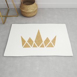 Golden Geometric Shimmering Crown Rug