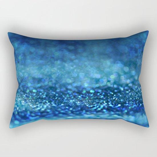 Aqua Glitter effect- Sparkling print in different blue Rectangular Pillow