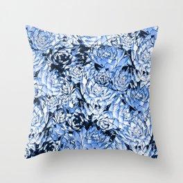 Blue Desert Echeveria Succulent Design Throw Pillow