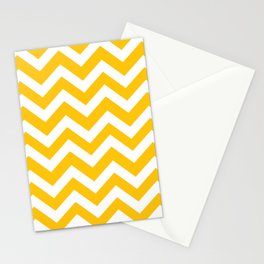 Mikado yellow - yellow color - Zigzag Chevron Pattern Stationery Cards