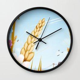 The farm on a sunny day. Wall Clock