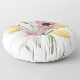 Watercolor-poppies-and-lemons Floor Pillow