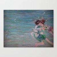 chihiro Canvas Prints featuring Chihiro & Haku by Plumrose Fern