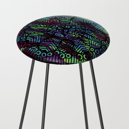 Purple and Green Doodle 14 Counter Stool