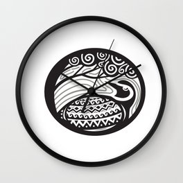 Golden Plover Looking Up Tree Oval Tribal Art Wall Clock