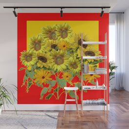 GOLDEN-RED SUNNY YELLOW SUNFLOWERS Wall Mural