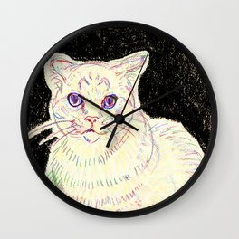 crayon cat Wall Clock