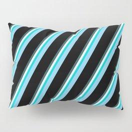 Vibrant Dark Slate Gray, Light Cyan, Dark Turquoise, Sky Blue, and Black Colored Lines Pattern Pillow Sham