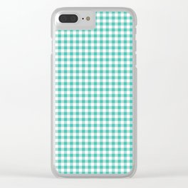 Modern green white checker picnic stripes pattern Clear iPhone Case