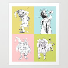 4 Little Animals Art Print