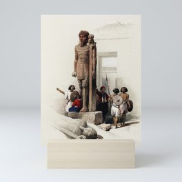 Colossus in Front of Temple of Wady Saboua, Egypt (1849) Mini Art Print