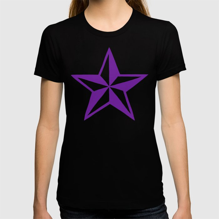 Purple Tattoo Style Star on Black T-shirt