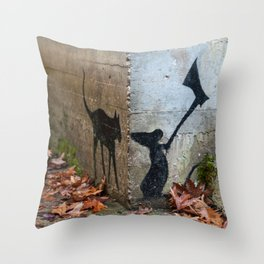 Mouse and cat wall Throw Pillow
