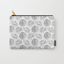 Black And White Peony Pattern Carry-All Pouch