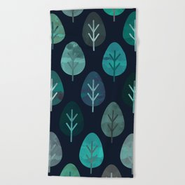 Watercolor Forest Pattern #7 Beach Towel
