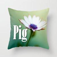 pig Throw Pillows featuring Pig by Wanker & Wanker