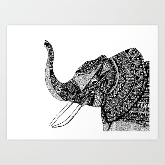Allison Elephant Black and White Art Print