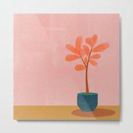 Pink Fiddle Leaf Metal Print