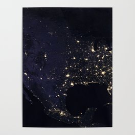 United States at Night Poster