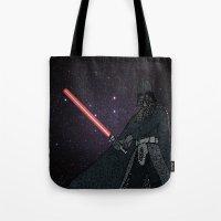 darth vader Tote Bags featuring Darth Vader  by Rebecca Bear
