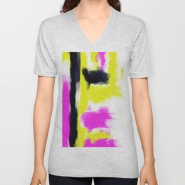 pink yellow and black painting abstract with white background Unisex V-Neck