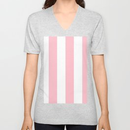 Wide Vertical Stripes - White and Pink Unisex V-Neck