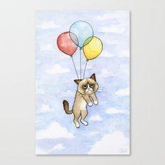 Cat With Balloons Grumpy Birthday Meme Canvas Print