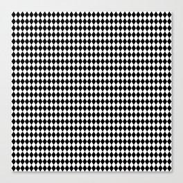 Micro Black & White Mini Diamond Check Board Pattern Canvas Print