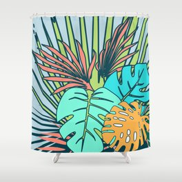 Tropical leaves blue Shower Curtain