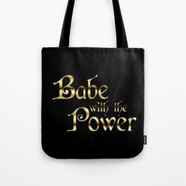 Labyrinth Babe With The Power (black bg) Tote Bag