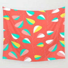 Mid Century Modern Living Coral Leaf Pattern Wall Tapestry