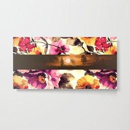 Por do sol, flores de outono!! Metal Print