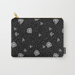Black and white minimal linocut abstract pattern graphic scandi design Carry-All Pouch