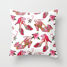 Christmas Shoe mad Poinsettia and candy canes Throw Pillow