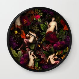 Antique Nymphs In Botanical Night Flower Garden  Wall Clock