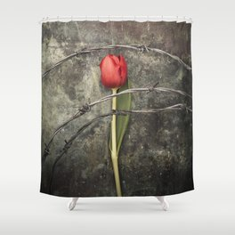 Tulip and barbed wire Shower Curtain