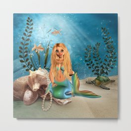 Mermaid Coral Pearl Metal Print