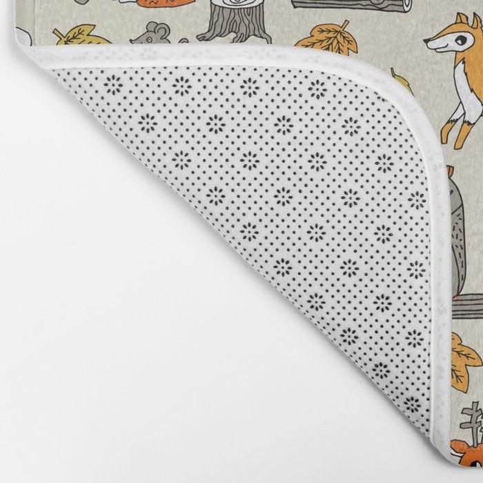 Woodland foxes rabbits deer owls cute pattern by andrea lauren Bath Mat