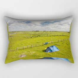 Camping tent and grass expanse Rectangular Pillow