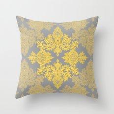 Golden Folk - doodle pattern in yellow & grey Throw Pillow